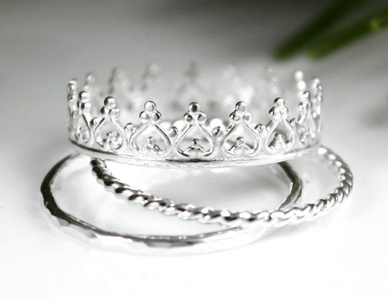 Princess Crown Ring Tiara Ring Stacking Set, Silver Ring Set ...