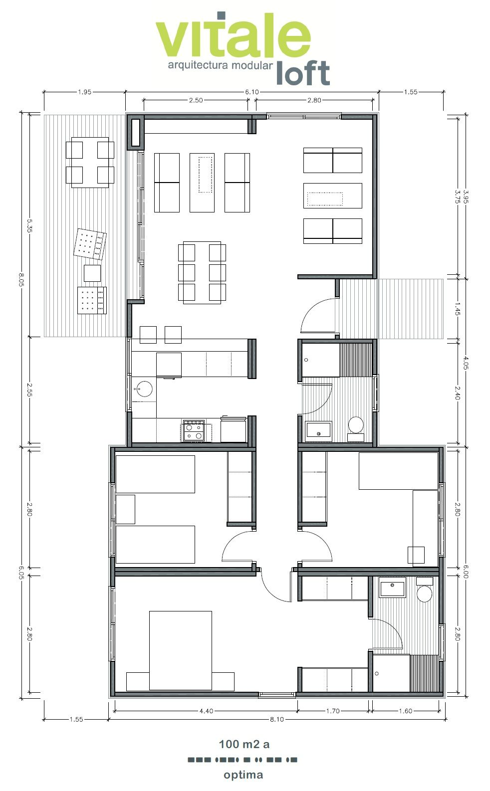 modelo optima 100 m2 maison pinterest plans plans de maison et plans appartement. Black Bedroom Furniture Sets. Home Design Ideas