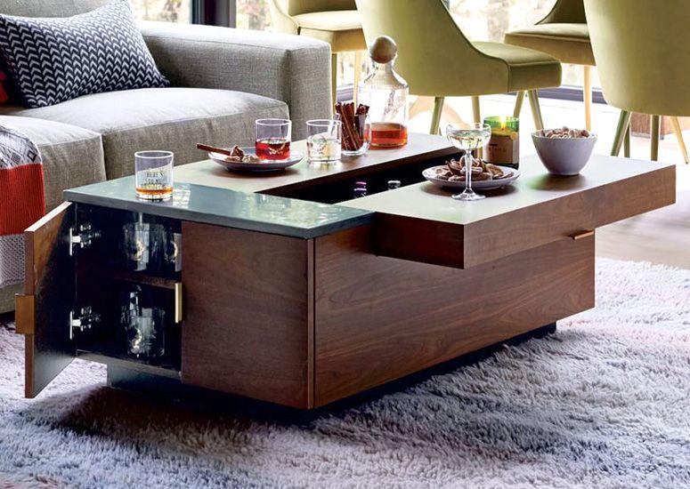 Hyde Hidden Storage Secret Mini Bar Coffee Table Coffee Table