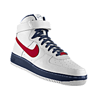 I designed the white, dark blue and red Belmont Bruins Nike Air Force 1 High iD men's shoe.