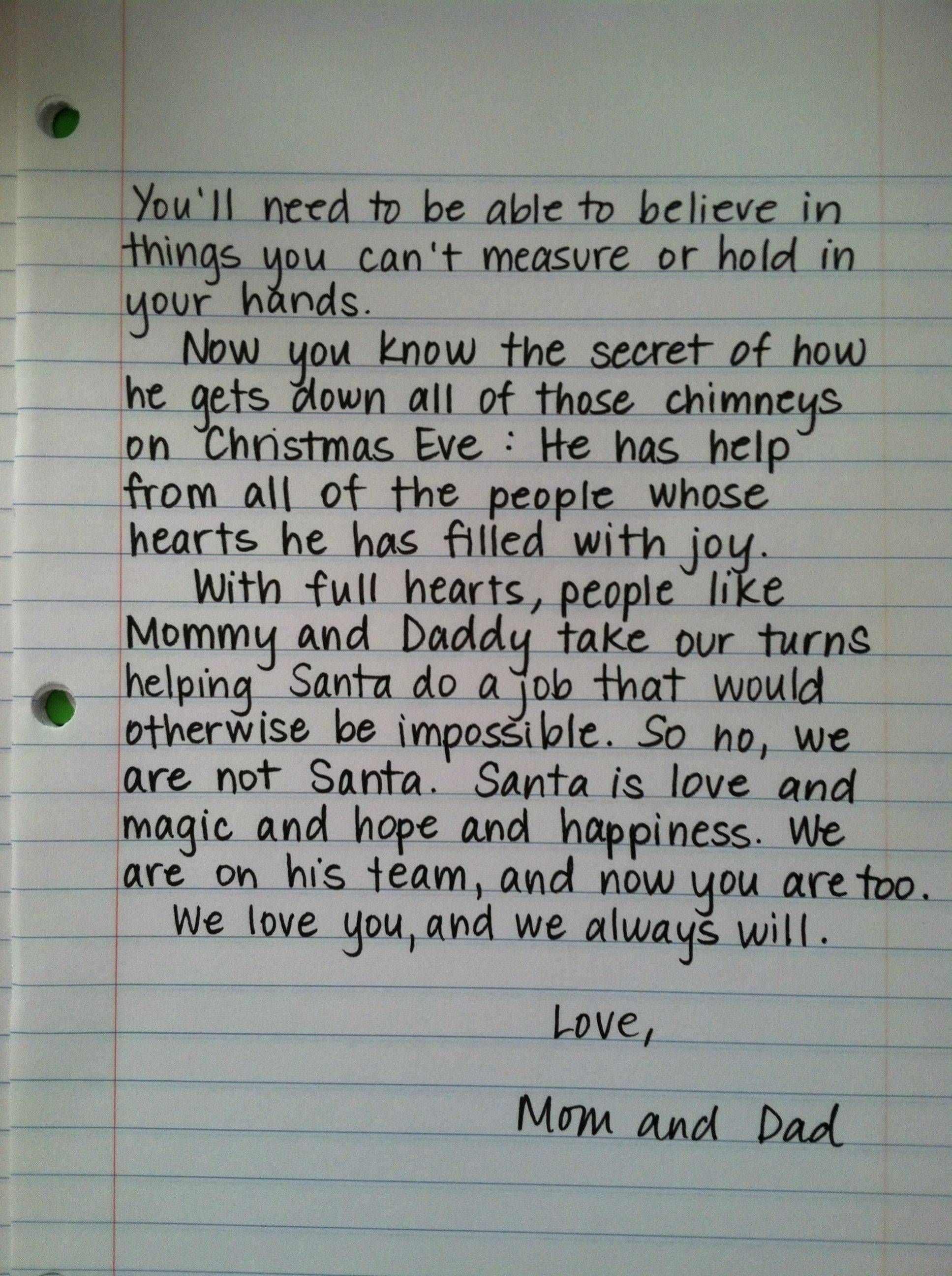 Santa Letter For When The Kids Find Out  Makes Me Sad To Think