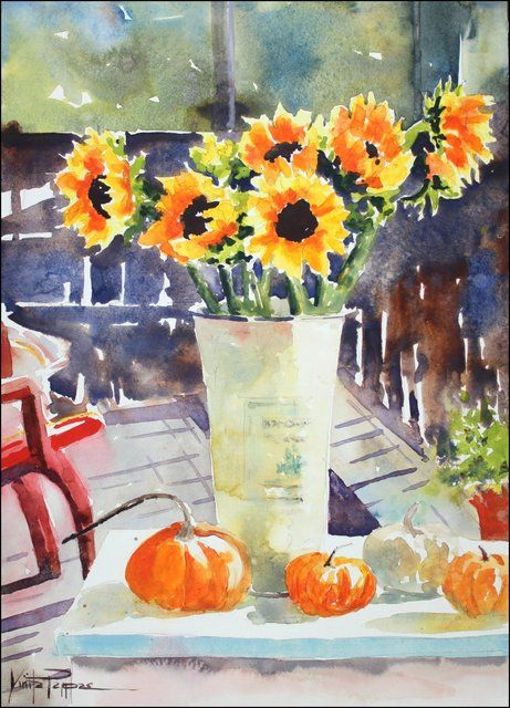 Learn wet-into-wet watercolor painting techniques to create stunning, sunlit flowers.  Vinita Pappas online class. $24.