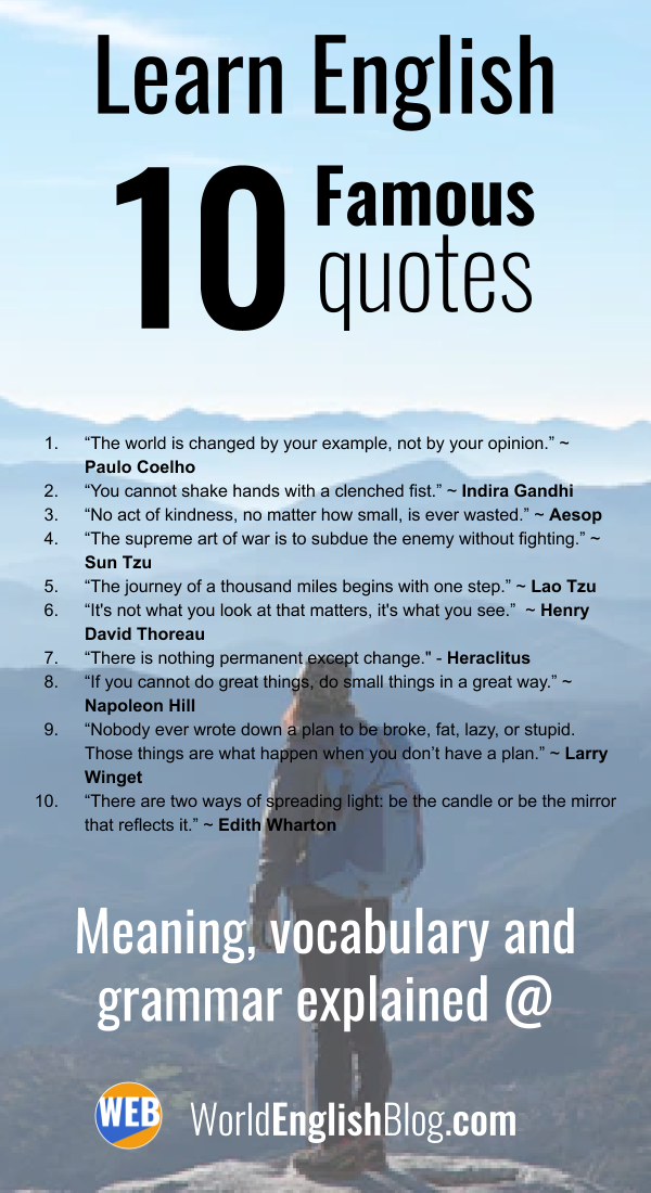 Learn English With Famous Quotes 10 Quotes Explained Learn English Learn English Words Learning Quotes