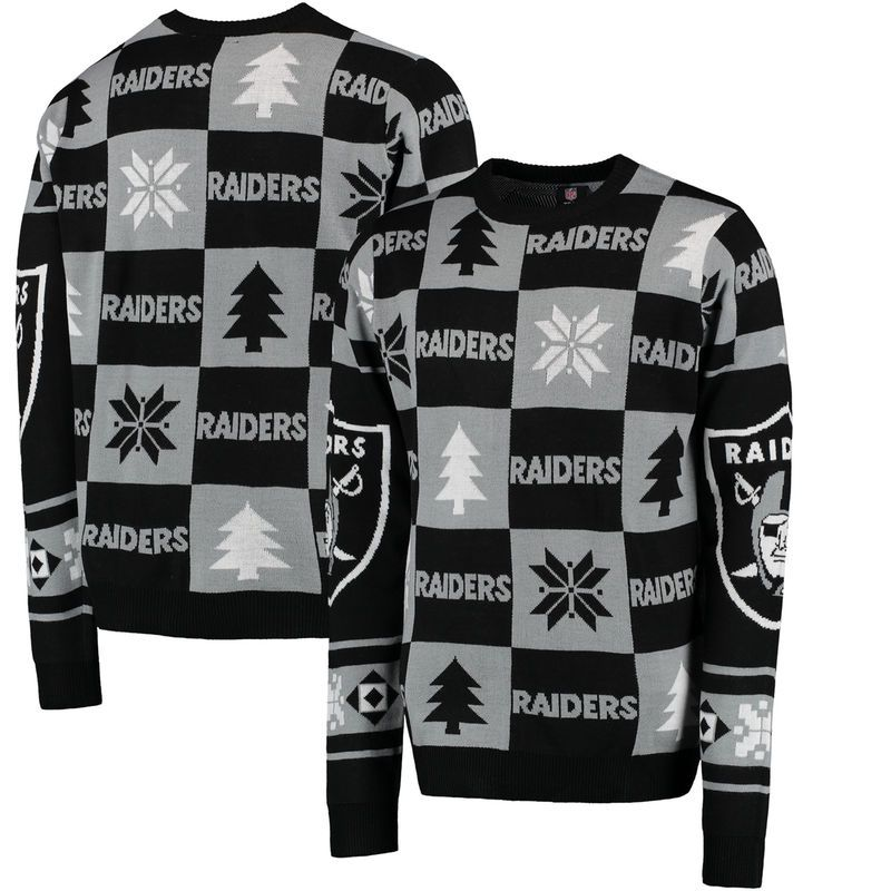 Oakland Raiders Klew Patches Ugly Sweater - Black  fa20d2e29
