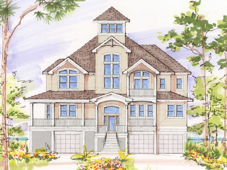 beach house plan 041h 0113 3637 sq ft tower - Beach House Plans With Tower