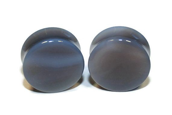 Intrepid Jewelry Blue Agate Stone Plugs Double-Flared