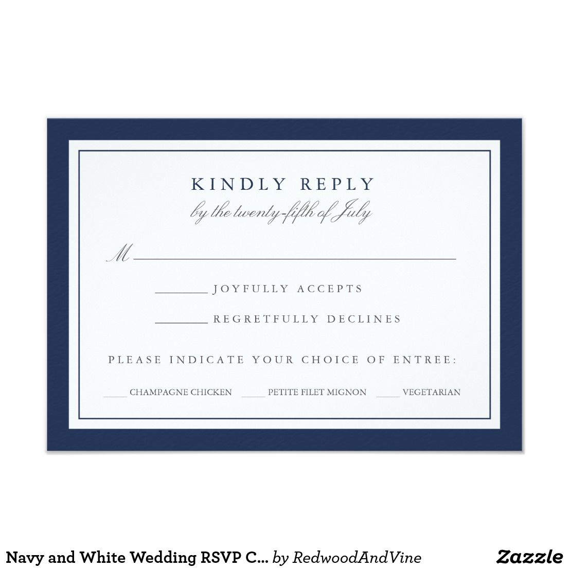 Navy And White Wedding Rsvp Card W Meal Choice