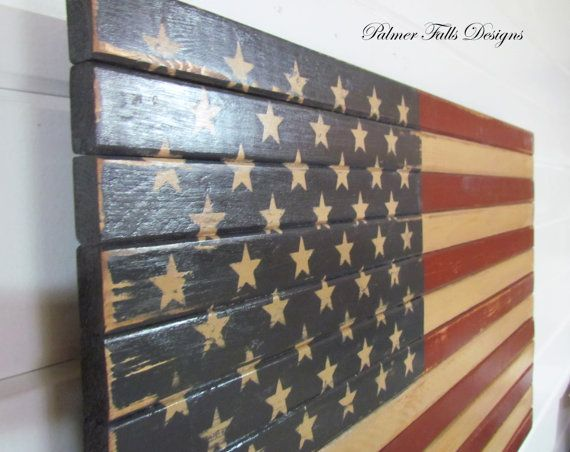 Hang Flag On Wall traditional wood american flag / patriotic decor / flag wall