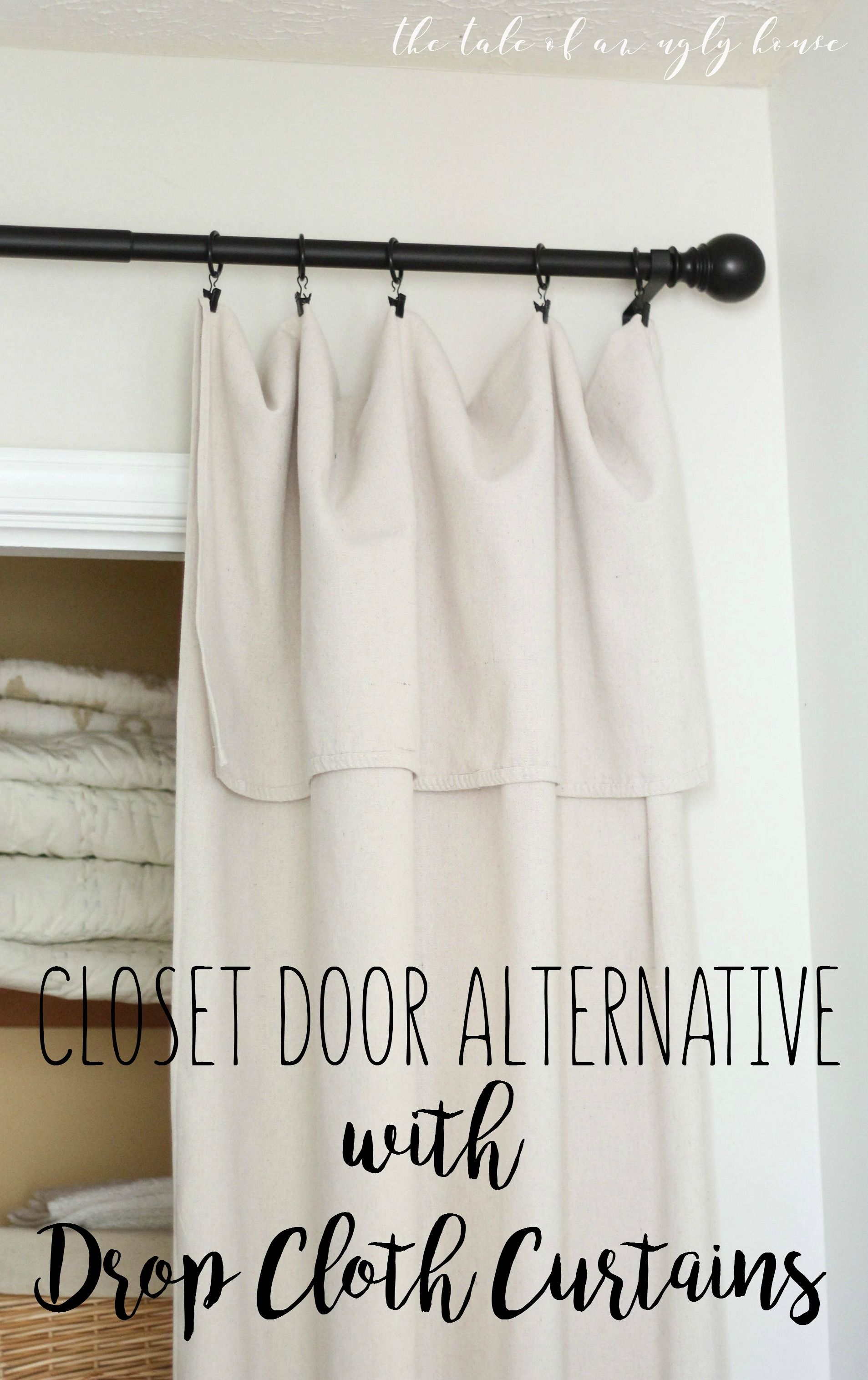Shower curtain alternatives - Diy Closet Door Alternative With Drop Cloth Curtains Easy And Super Affordable