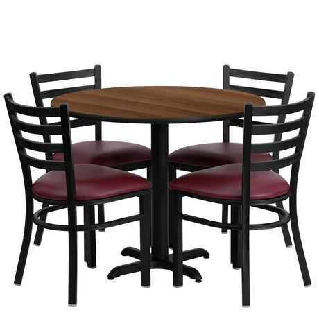 Flash Furniture 36 Round Black Laminate Table Set With X Base And 4 Ladder Back Metal Chairs Burgundy Vinyl Seat Table And Chair Sets Metal Chairs