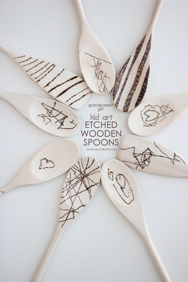 Grandparent Gift: Kid Art Etched Wooden Spoons   Weihnachtsgeschenke ...