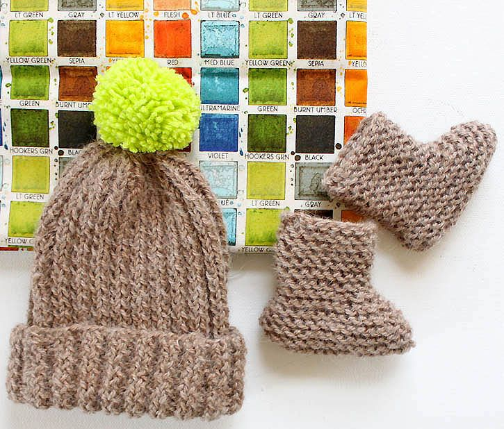 Knitting Gift Set : Quot bringing home baby gift set hat booties knitting