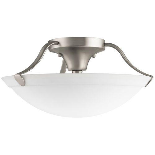 Kichler brushed nickel semi flushmount light with white glass brushed nickel ceiling lights and glass