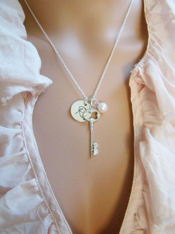Personalized Key Necklace Tiffany Inspired by ShinyLittleBlessings on Etsy, $24.00
