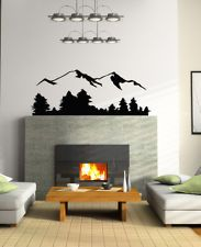 Wall Decor Vinyl Decal Sticker Mural Beautiful mountains with trees OS249