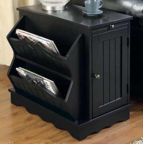 Country Style End Table With Magazine Rack In Black Finish By