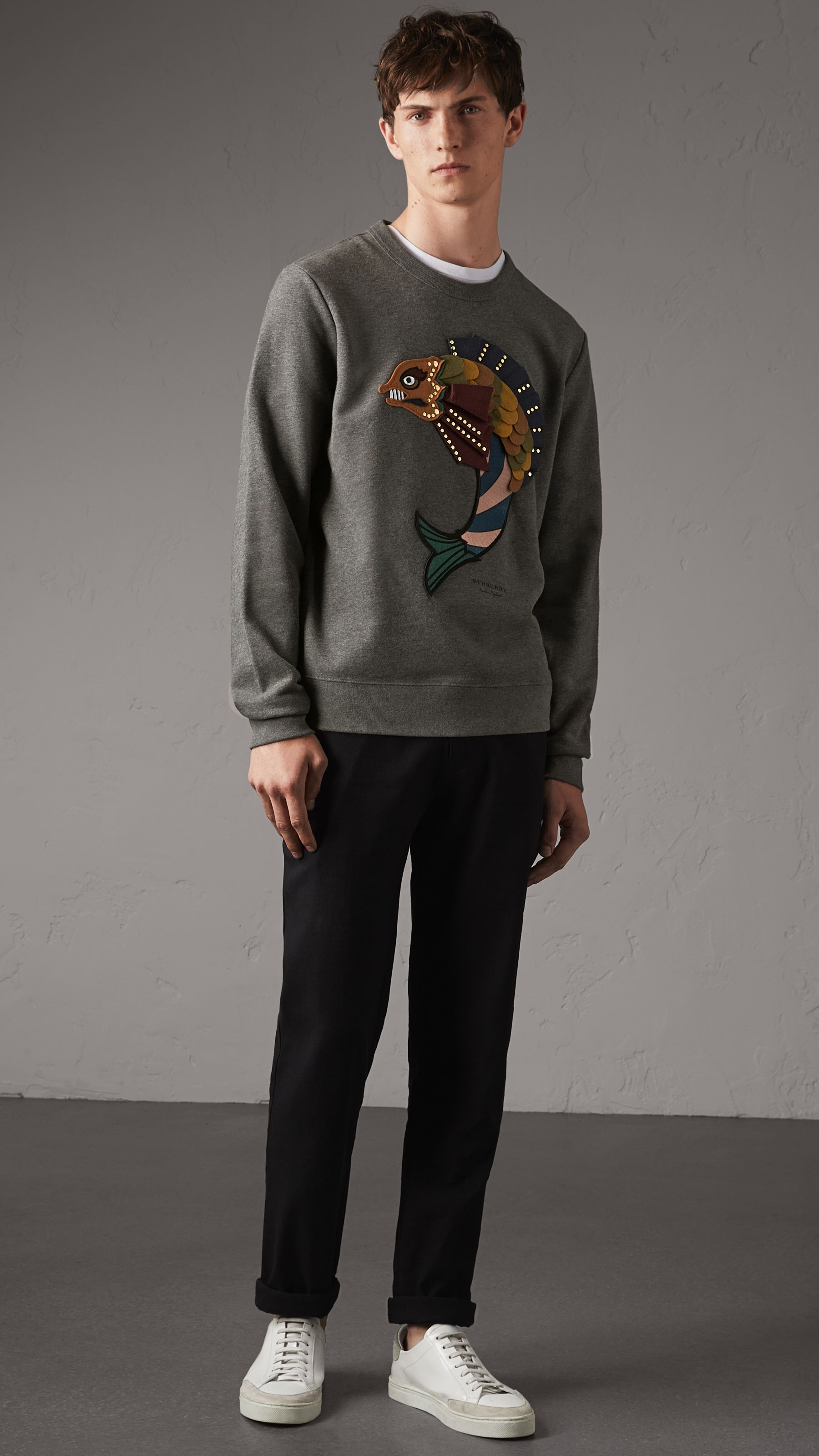 Beasts Applique Cotton Sweatshirt In Mid Grey Melange Men Burberry United States Men Street Fashion Cotton Sweatshirts Sweatshirts [ 3200 x 1800 Pixel ]