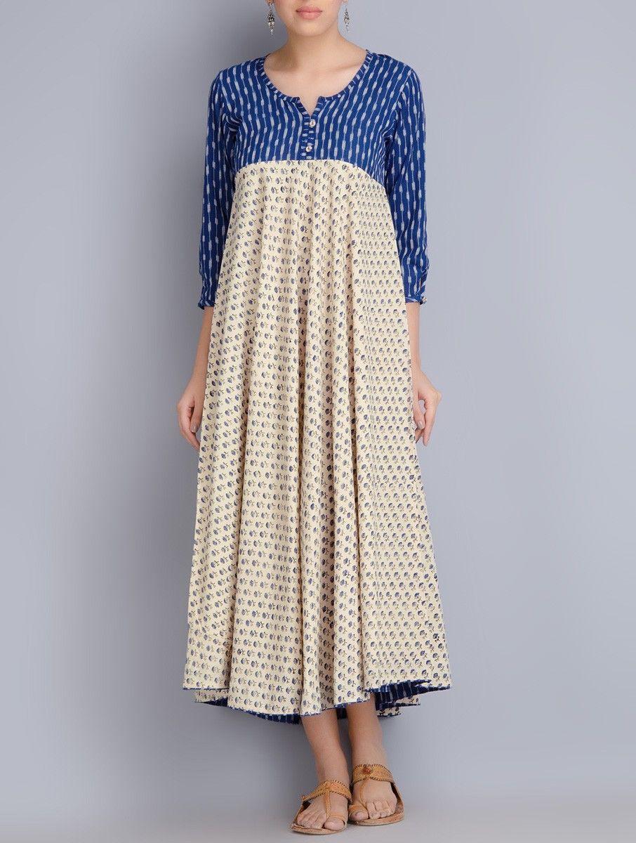 8436d6b089 Buy Indigo Cream Block Printed Ikat Cotton Dress Apparel Dresses Online at  Jaypore.com