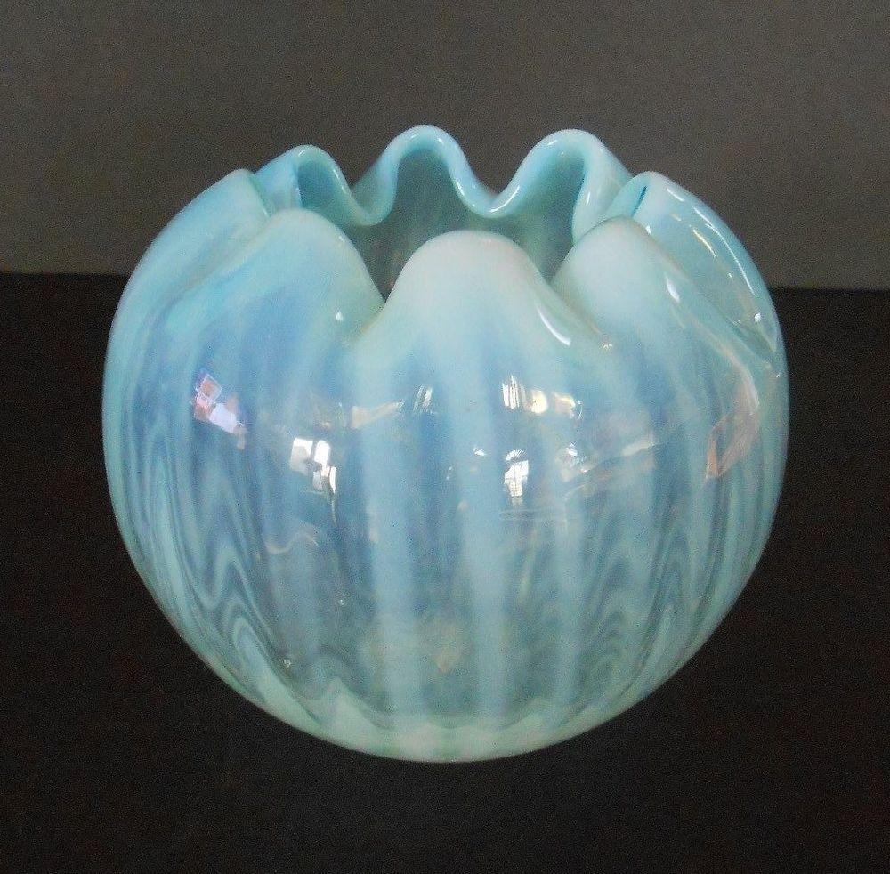 "Opalescent Glass Crimped Vase Rib Optic Hand Blown Blue Color 3 1/2"" Tall"