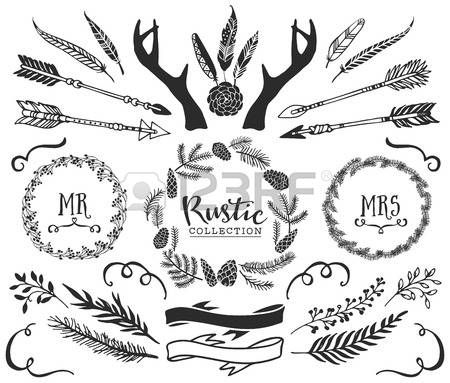 Native American Hand Drawn Antlers Arrows Feathers Ribbons And Wreaths With Lettering Rustic Decorative Vector Design Set Vintage Ink