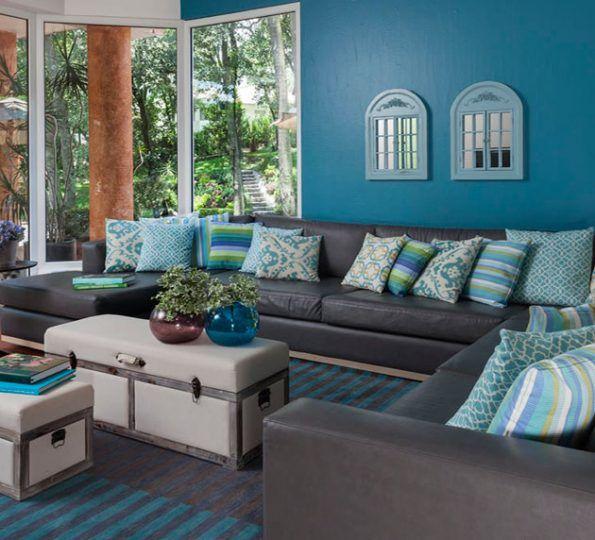 Usando toques turquesa mariangel coghlan blog for Sala gris con azul