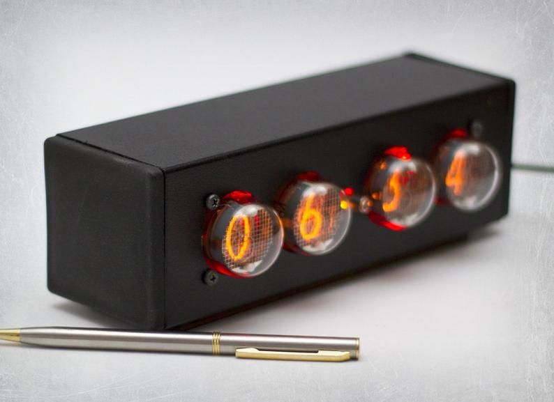 IN-4 Nixie Tube Clock. Nixie Clock with red backlight adapter ...