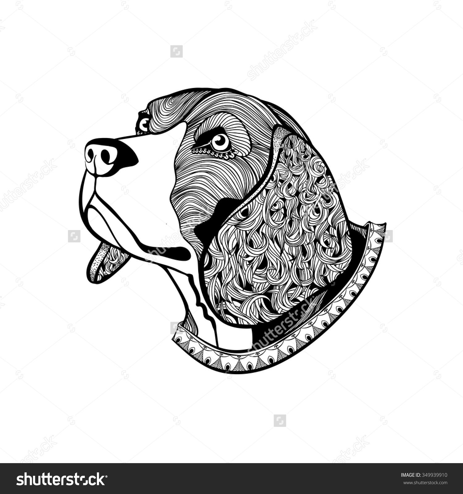 Hand Drawn Dogs Face, Beagles Head With Collar In Zentangle