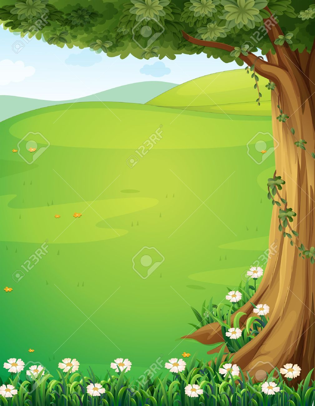 Illustration Of A View Of The Hills With A Tree And Flowers Royalty Free Cliparts, Vectors, And Stock Illustration. Pic 22065634.