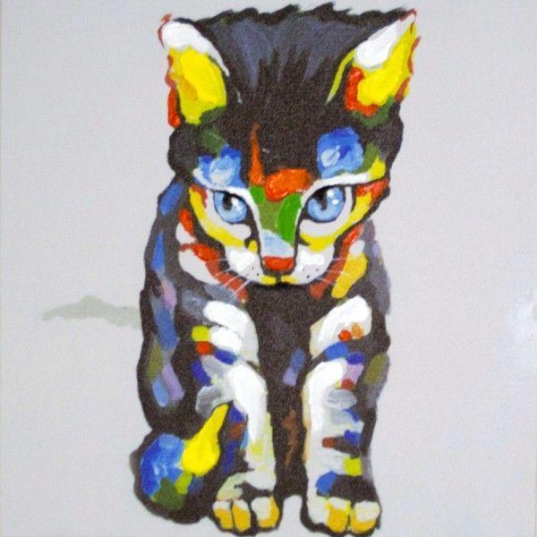 Tableau toile contemporain chat oreilles jaunes toile - Tableau de chat moderne ...