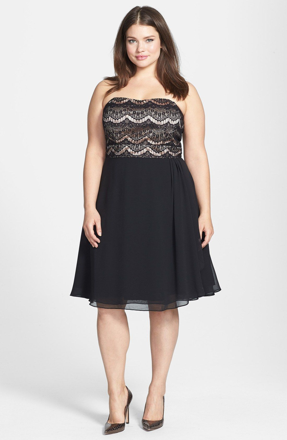 City chic mixed media fit flare dress plus size plus