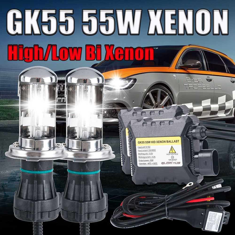 12V 55W Xenon H4 High Low Bixenon Lamp Kit HB2 9003 9004 9007 9008 H13 Light 4300K 6000K 8000K Bi