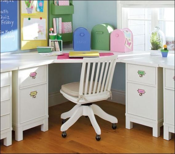 Kids Room Corner Study Desk In White Color Looks So Cute Coupled With Little Swivel Chair Design Kids Bedroom You White Kids Desk Corner Desk Baby Furniture