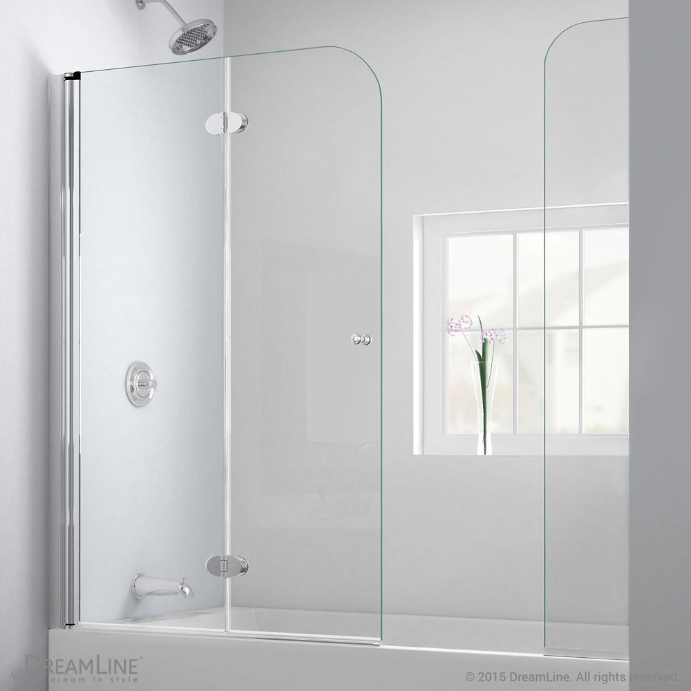 Aqua Fold 56 Inch To 60 Inch X 58 Inch Semi Frameless Hinged Tub
