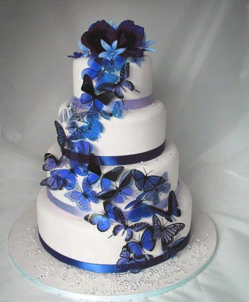20 Pack Of Dark Blue Butterflies Great For Cake Toppers Butterfly Wedding Cake Butterfly Cakes Cake