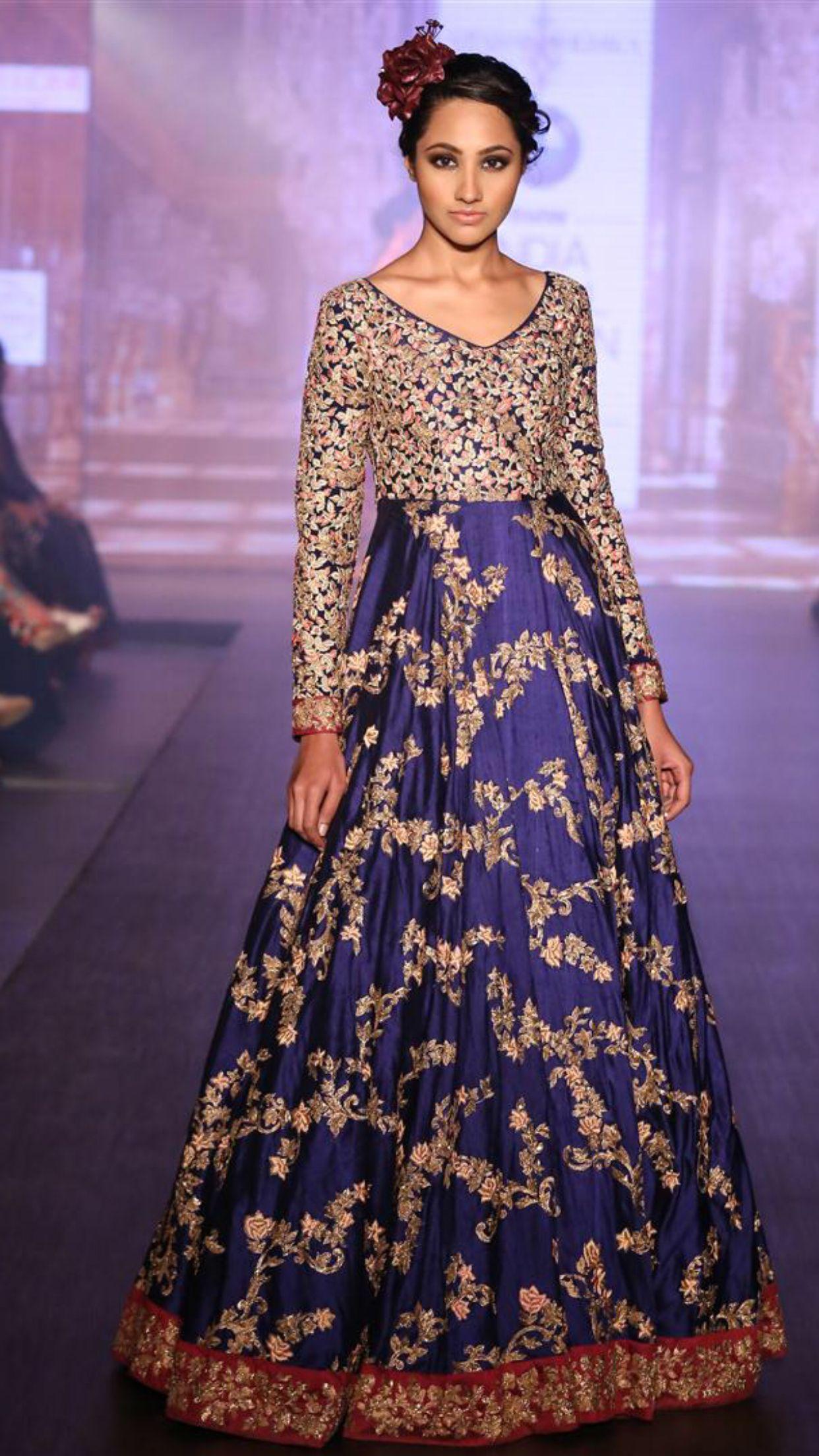 Gorgeous blue and gold | Anarkali crush | Pinterest
