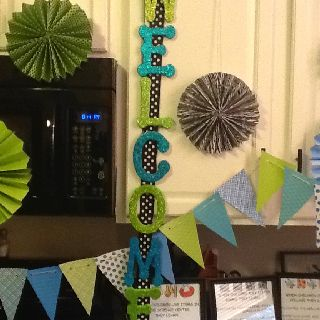 Hobby lobby foam letters and polka dot ribbon great for Hobby lobby bulletin board letters