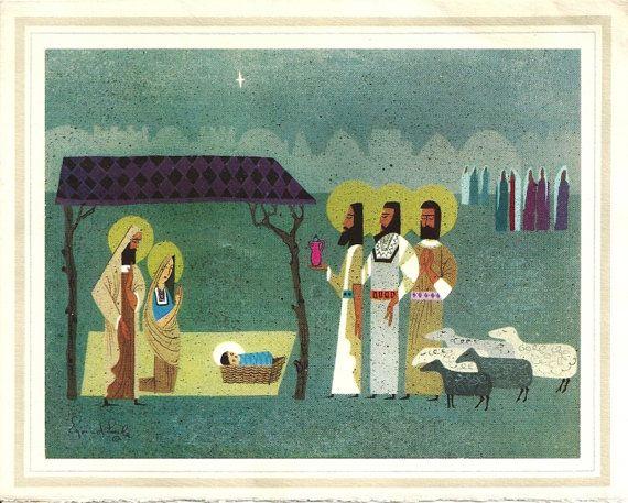 Vintage Eyvind Earle Christmas Card Nativity Scene by patternmania | Vintage christmas, Vintage ...