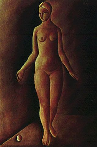 Mulher com Bola Vermelha [A Mulher e a Bola Vermelha] [Nu e Bola Vermelha] 1927 | Vicente do Rego Monteiro óleo sobre tela, c.s.d. 130.00 x 90.00 cm