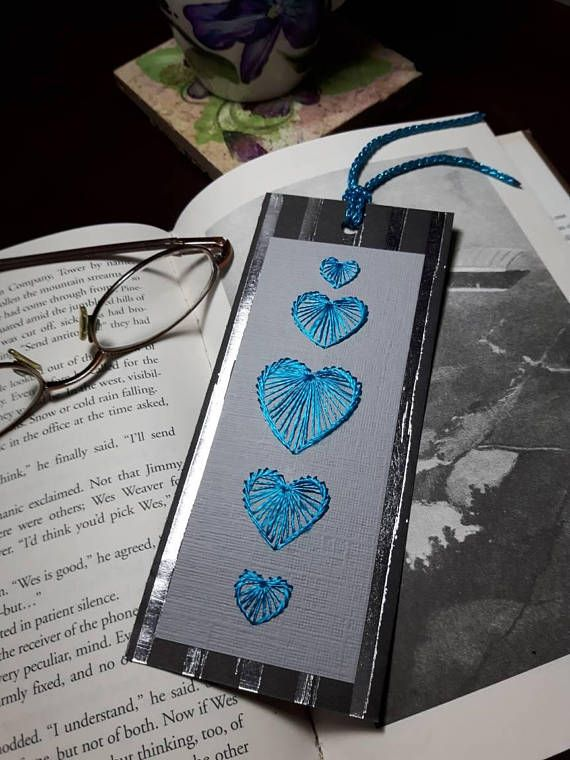 Blue Silk Heart Stitched Bookmark Place Holder Gift For Reader