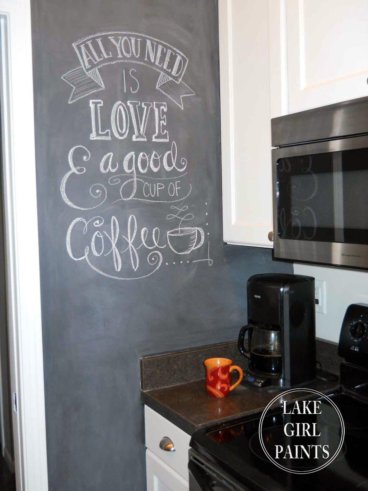 Kitchen With Blackboard Wall Decor Google Search Kitchen