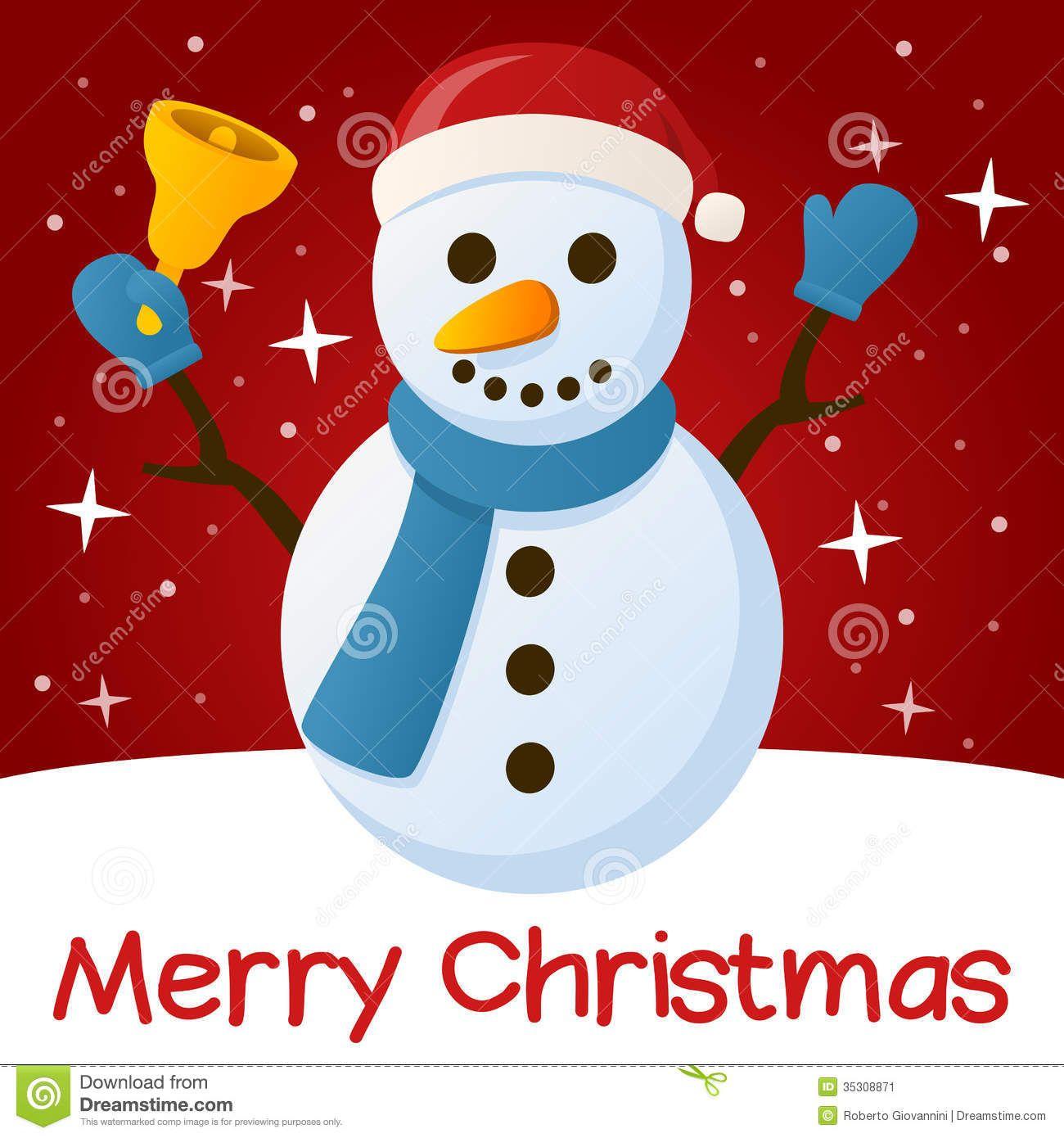 Download Red Christmas Card Snowman Cartoon Vector via