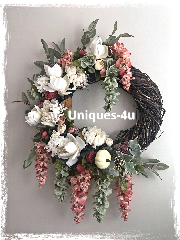 Autumn Wreath White Autumn Wreath Fall Wreath Silk Flowers