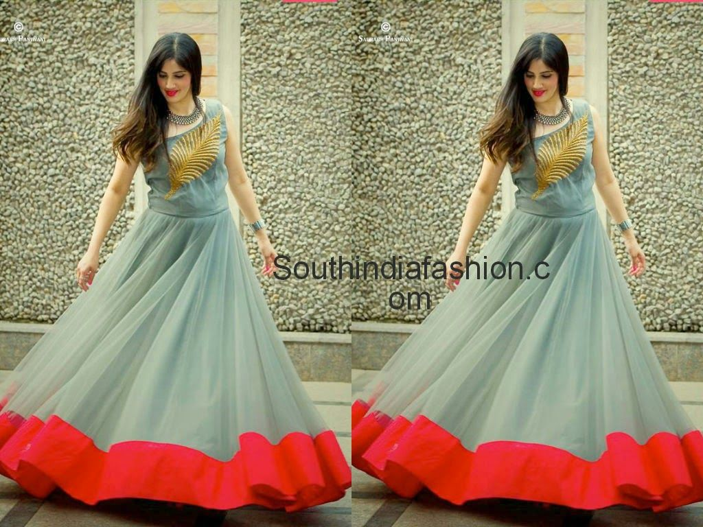 Stylish Long Gown by Anitha Reddy | Blouse designs, Saree and Stylish