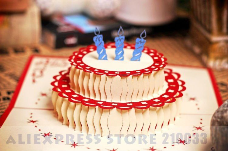 3d Happy Birthday Cake Handmade Creative Kirigami Origami Pop Up