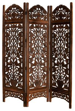 Topiary Hand Carved 3 Panel Screen Modern Screens And Room Dividers