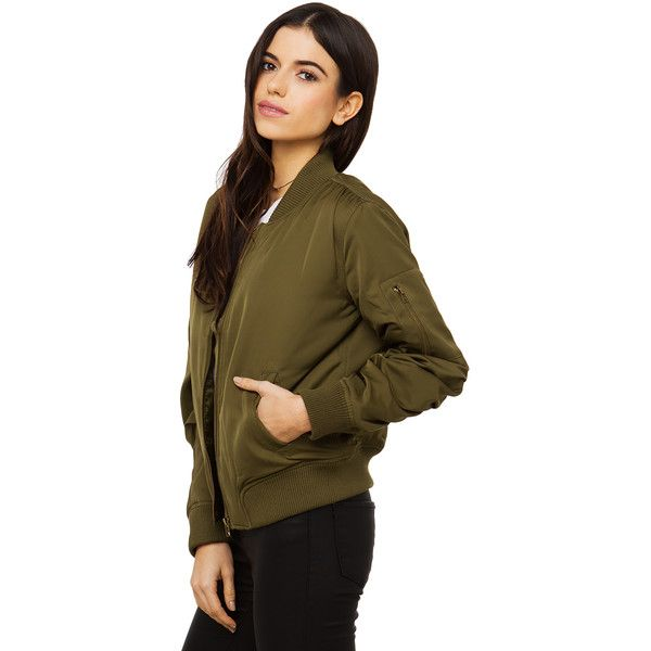 AKIRA This Seasons Color Bomber Light Jacket - Olive ($40) ❤ liked on Polyvore featuring outerwear, jackets, olive, green camo jacket, brown bomber jacket, olive green bomber jacket, green military jacket and long sleeve jacket