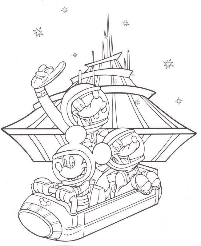 Coloring Pages Tomarrowland Space Mountain Mickey Goofy Pluto Disneyland Walt Libros Para Colorear Dibujos Para Colorear Dibujos