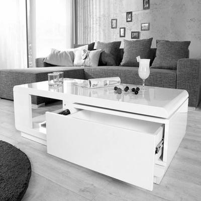 Table Basse Blanche Laque Brillant Avec Rangement Rectangulaire