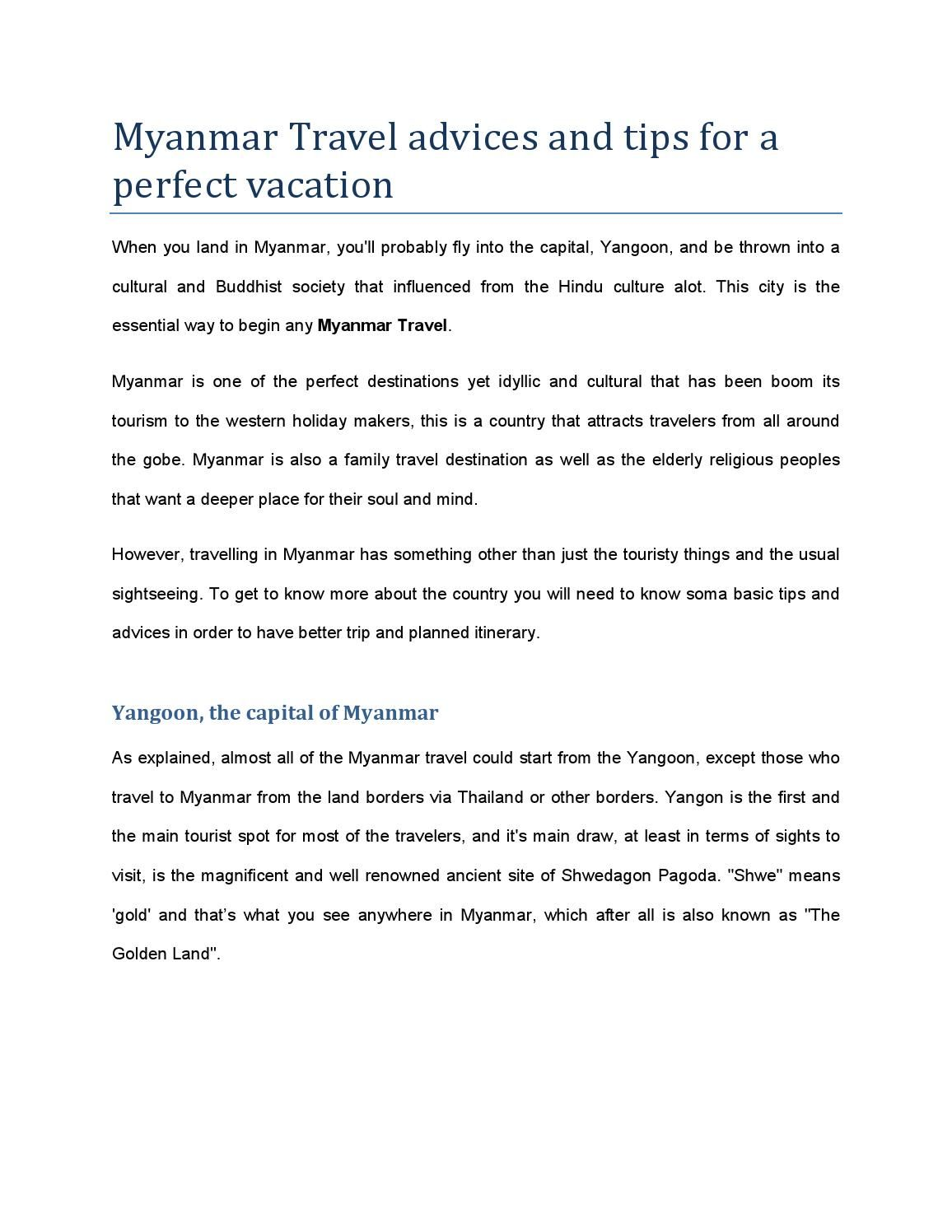 Myanmar Travel And Tip By Luxurytravelvietnam Com Advice Tourism Essays Advantage Disadvantage Of Mas Essay Pdf