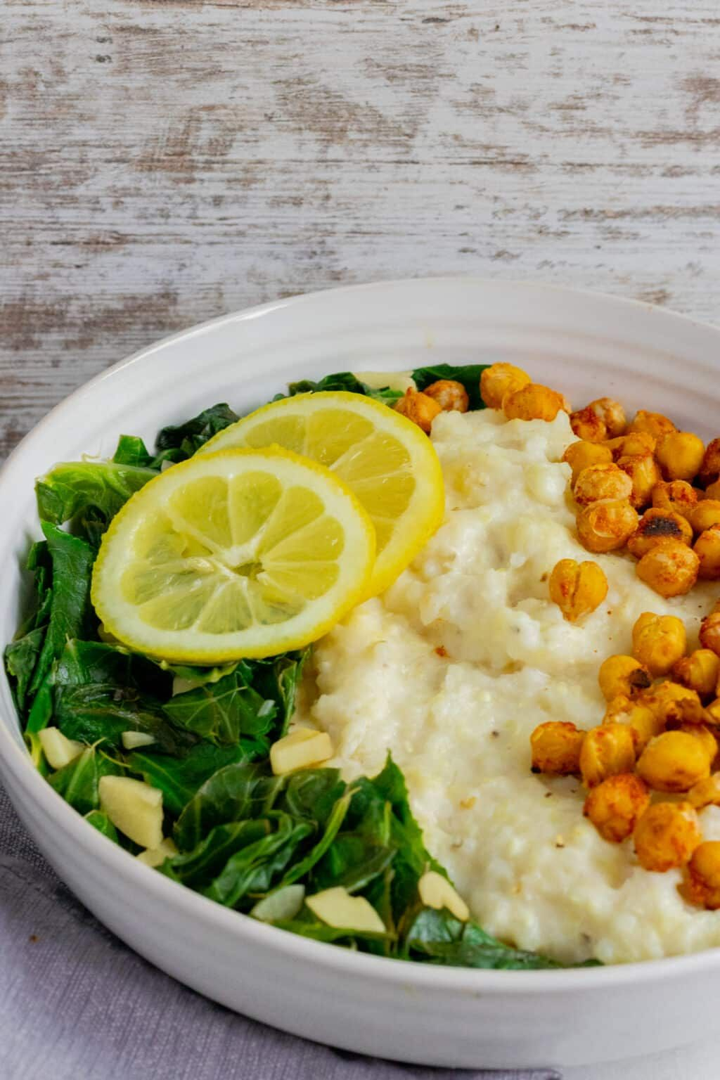 Vegan Cheesy Grits Breakfast Bowl With Crispy Chickpeas Recipe In 2020 Crispy Chickpeas Breakfast Bowls Chickpea
